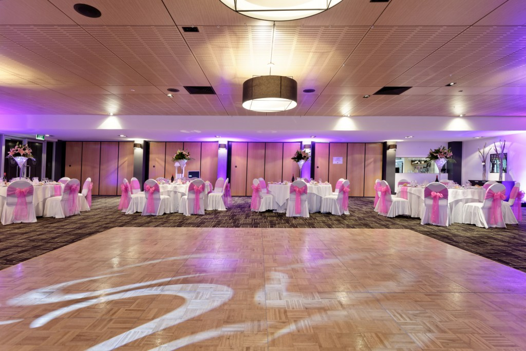 wedding - pink lighting dancefloor